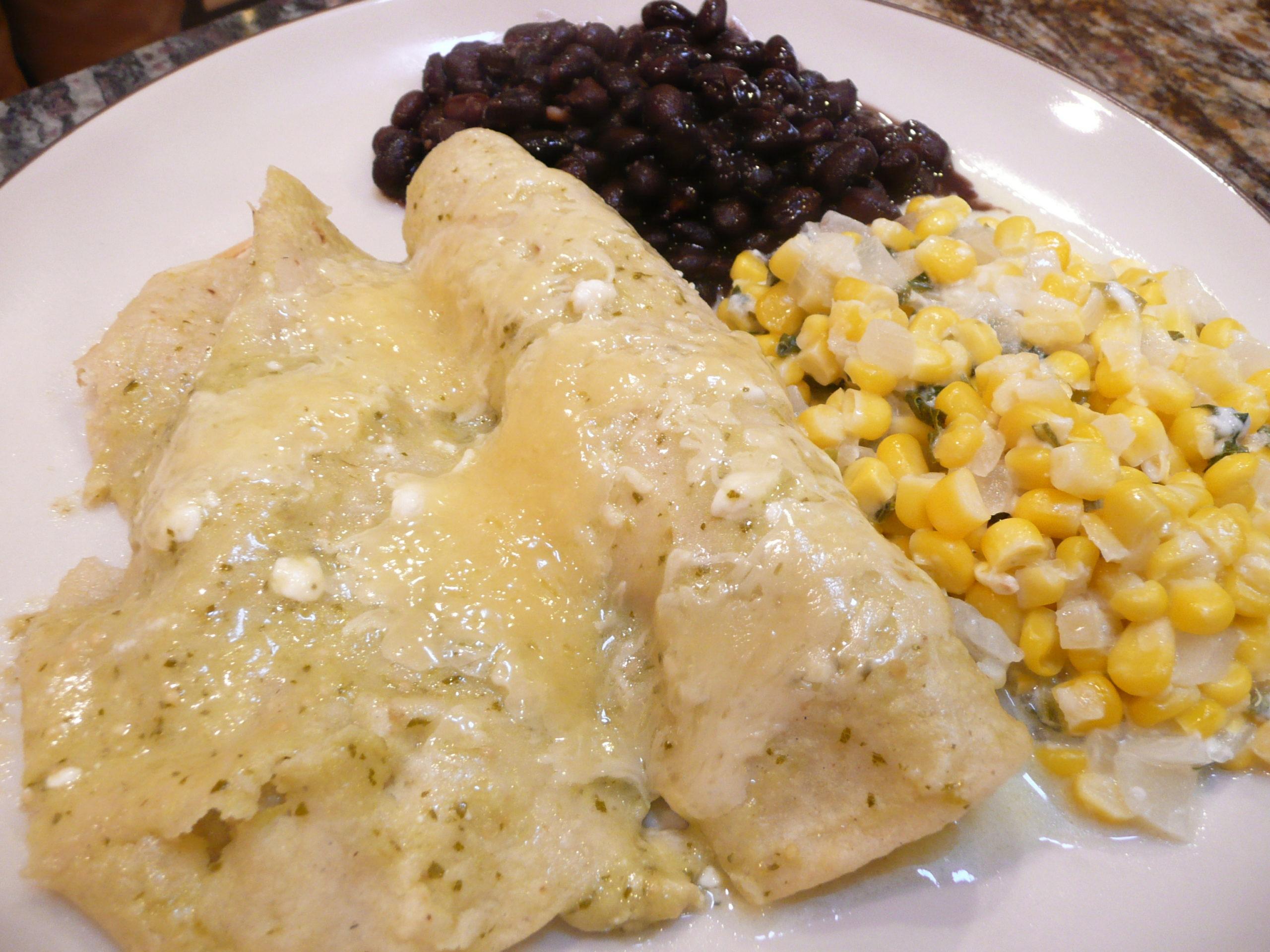 Enchiladas Suizas & Esquites | Simply Norma