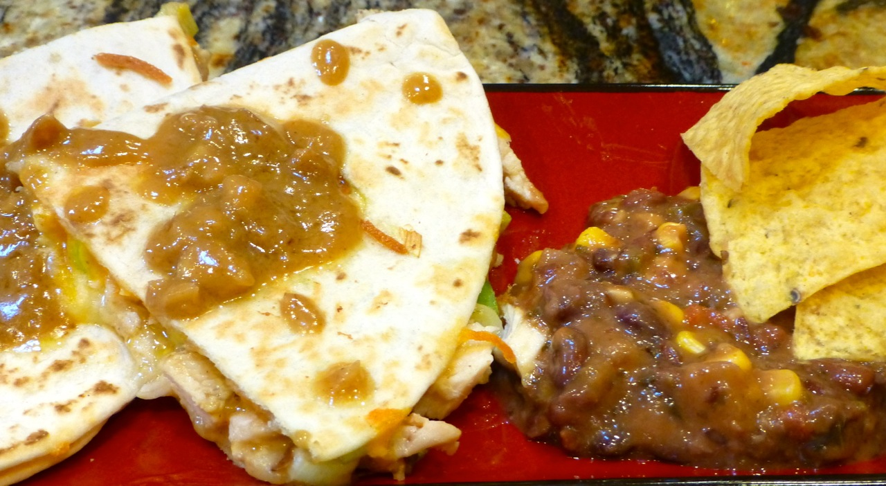 Spicy Peanut Chicken Quesadillas | Simply Norma