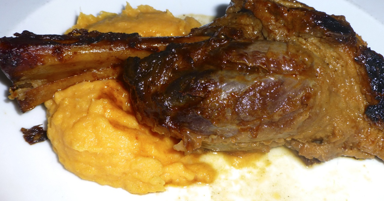 Lamb Shank with Sweet Potato Mash