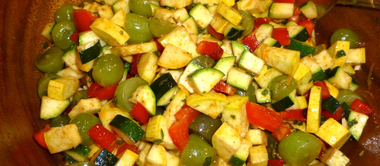 Moroccan Zucchini, Grape, and Bell Pepper Salad