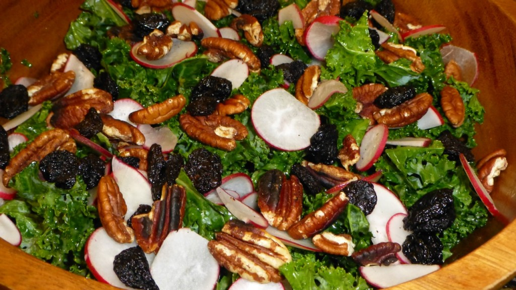 Kale Salad with Radishes and Pecans