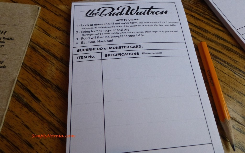 The Bad Waitress Order Form