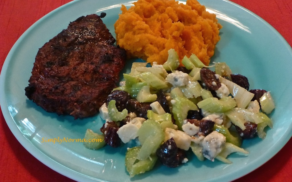 Celery, Fig, and Gorgonzola Salad with Steak and Mashed Sweet Potatoes