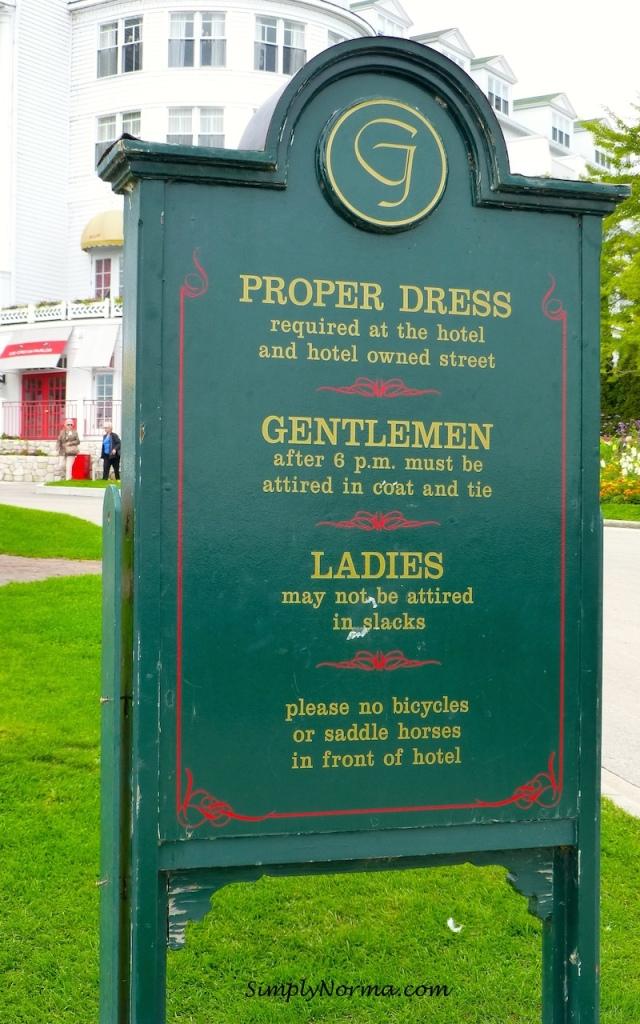 Dress Standards, Grand Hotel, Mackinac Island