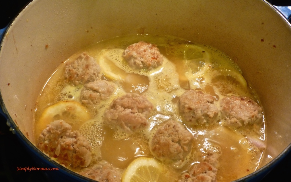 Add broth and meatballs