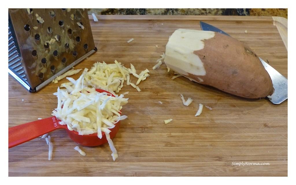 Grate the Raw Sweet Potato