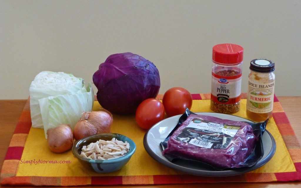 Ingredients for Paleo Cabbage with Beef
