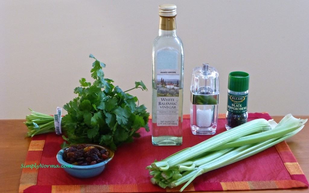 Ingredients for Celery and Cilantro Salad with Raisins