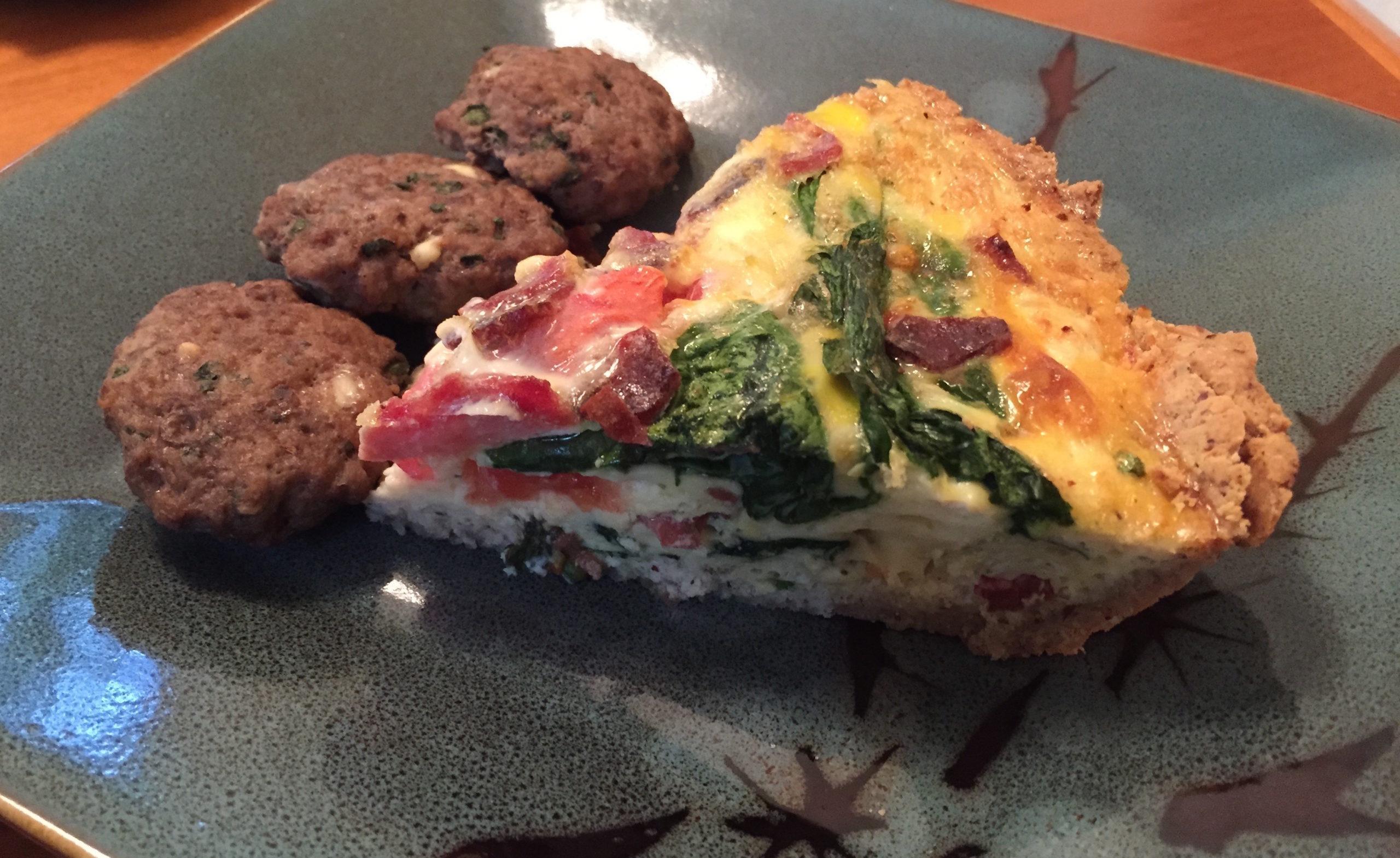 Turkey Bacon, Tomato and Spinach Paleo Quiche